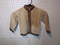 Baby Wool Button Up Coat Jacket - Tan Fur Lined HANDMADE  #Handmade #Coat