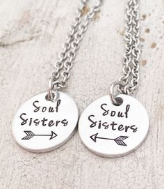 Best Friend Arrow Necklace - Christmas Gift for Best Friend - Soul Sister Necklace - Best Friend Jewelry - Necklace Gift Set for 2 by StampsofLove4 on Etsy