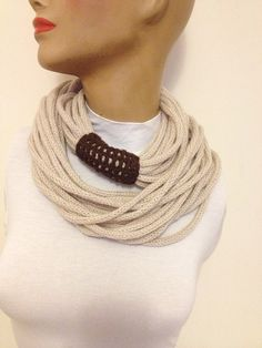 SCARF- wool chain necklace - Infinity Eternity Scarf ,Noodle Scarves Fashion Neckwarmer Circle Necklace Chunky Cowl Beige. $25.00, via Etsy.