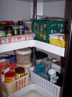 Need to buy baskets to organize our two kitchen lazy susan corner cabinets. Not to mention purging items that not have been used for over a year......