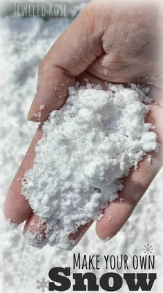 Two ingredient snow play recipe - this stuff is amazing! Naturally cold and feels just like fresh powder in your hands. Great sensory activity for kids. The will love it and wait until you see what it does when you drop some into vinegar.