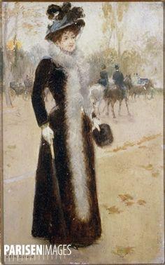Jean Béraud (1849-1936).  Parisienne au bois . Paris, musée Carnavalet.  © Roger-Viollet
