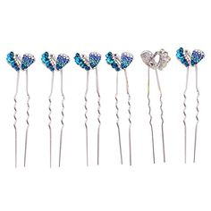 6 Pcs Blue Rhinestone Hair Pins for women Wedding Hair Pins 49blue ** Want to know more, click on the image. (This is an affiliate link) Wedding Hair Pins, Bobby Pins, Wedding Hairstyles, Hair Accessories, Link, Blue, Image, Beauty, Women