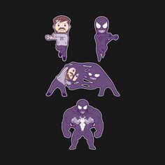 Shop Symbiotic Fusion venom t-shirts designed by KindaCreative as well as other venom merchandise at TeePublic. Venom Comics, Marvel Venom, Marvel Vs, Marvel Dc Comics, Film Venom, Venom Movie, Marvel Funny, Marvel Movies, Funny Comics