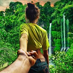 """In a photo series entitled """"Follow Me"""" uploaded to Instagram, Murad Osmann captures gorgeous photographs of his girlfriend, Natalia Zakharova,  leading him by the arm through various exotic locations around the world."""