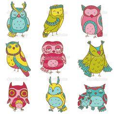 Различные коллекции каракули сова - рисованной - в векторе — Стоковая иллюстрация #12229692