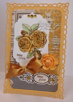 Good morning and welcome to another Timeless Tuesday challenge! This weeks hostess is Maki & she asked the ladies to pick a letter of the alphabet & use at least three supplies/elements that start with the alphabet letter you picked. Cindy Haffner created this stunning card. She picked R for roses, ribbon, & romantic Rectangles. For her supplies she used Flourishes Stamp set A year in Flowers 2,  Satin ribbon, Rhinestones, & My mind's eye sunshine. Be sure to check out her blog for more…