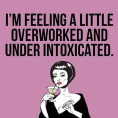 I feel a little overworked and under intoxicated Great Quotes, Funny Quotes, Funny Memes, Inspirational Quotes, Funny Sarcasm, Work Memes, Work Humor, Haha Funny, Hilarious