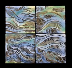 Cool-Toned Ripple Tiles by Natalie Blake: Ceramic Wall Art available at www.artfulhome.com