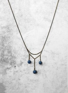Blue ball beads minimal modern handmade necklace from polymer clay for her - unique gift for women - summer SALE