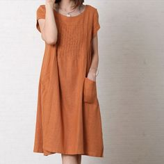 Women summer dress long dress Womens Clothing Plus Size Petite Maternity Party Summer Short Sleeves Pleated Linen Cotton Army Green Maxi