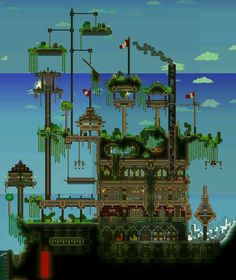Posted by somec on Terraria online forums Terraria House Design, Terraria House Ideas, Terraria Tips, Building Games, Minecraft Houses, Cool Items, Fun Games, Game Art, Cool Art