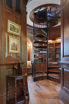 African mahogany office and library stair tower with millwork by Trey Halkett and stair fabrication by Terence Johnson. Design team included Mindy Carter, Joseph Elko, Jennifer Rhoades, Skip Wallace and Gary Inman. Ansel Olson Photography, Glavé & Holmes Architecture