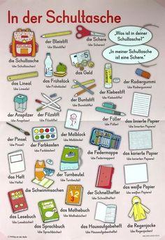 German vocabulary In your school bag Bag German language School Vocabulary is part of German phrases - Study German, German English, Learn German, Learn English, Learn French, German Grammar, German Words, German Language Learning, Spanish Language