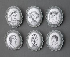 https://flic.kr/p/9bUbEm | Portraits Brooches | New fabric brooches! They are loosely based on  famous Reinassence portraits.