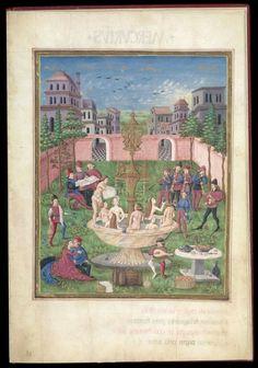 Scuola fiamminga, L'amante all'interno del giardino di diletto, 1400 circa, Londra British Library.jpg