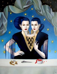 Daughters of Maternal Impression by Arabella Proffer #art #painting #siamese #twins