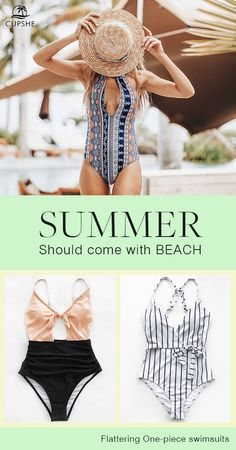 CUPSHE early summer collection. A collection of flawless fit one-piece swimsuits with lace-up, backless, cut-out design for a casual and modern look. The colors are too cute and the designs are so great! Choose this style and find inspiration here!
