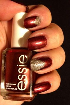 """Essie """"Wrapped in Rubies"""" with accent Zoya """"Tomoko"""" pixie dust."""