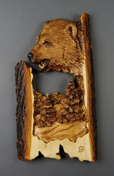 Bear carved on wood wood Art Wall Sculpture Art by DavydovArt