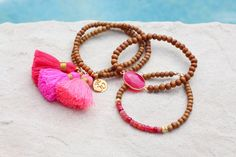 Hot Pink Tassel Bracelet Set Gold Vermeil by HappyGoLuckyJewels