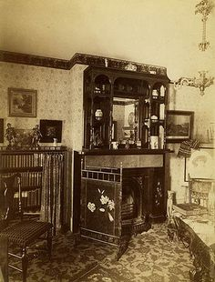 This period photo, taken in the late 1860's show the parlor of a mansion built in 1852.