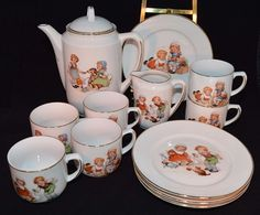 Vintage CHILD'S TEA SET GERMANY CHILDREN ANIMALS DOG CAT RABBIT TEA POT CUPS Etc