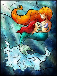 """""""Mother's Day"""" - Ariel and her mommy (by MandieManzano @deviantART)"""