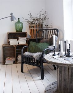 Reading corner: cosy wool covered ikea chair + crate storage