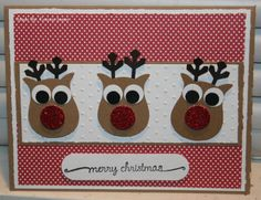 Reindeer using the Stampin' Up Owl Punch & large snowflake punch. Christmas Card Crafts, Christmas Owls, Stampin Up Christmas, Owl Punch, Punch Art, Christmas Scrapbook Pages, Owl Card, Scrapbooking Layouts, Diy Cards
