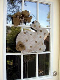 Bunny door hanger made of burlap.  tutorial---DIY!! Very cute! :)