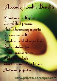 Avocado Health Benefits. Best for smoothies! Yum :)