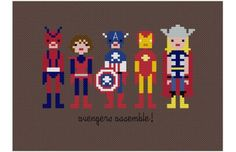 Pixel People: Counted Cross-Stitched Superheroes (Captain America *with shield, Picture Only)