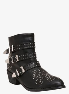 Add a cool-girl spin to your wardrobe with these studded black faux leather booties. Three silver tone buckles give it that tough attitude we're loving this season.