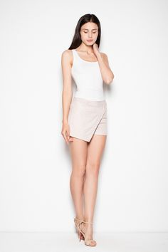 Looking for a classy beige shorts?  We have one with wrap pleat and back zipper special for you. Just click here and check.