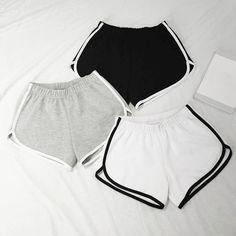 New 2017 Summer Shorts Women High Elastic Waist Casual Loose Shorts For Girl Solid Color Regular Korean Fashion Student Shorts Cute Lazy Outfits, Sporty Outfits, Teen Fashion Outfits, Girl Fashion, Summer Outfits, Girl Outfits, Womens Fashion, Summer Shorts, Long Shorts