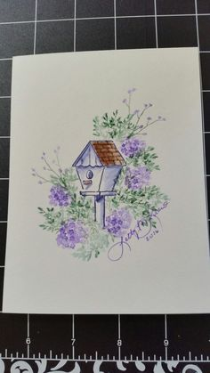 My Art Impressions Watercolor Stamping - Bridhouse created by Letty Lucero. Pen And Watercolor, Watercolor Pattern, Watercolor Paintings, Watercolors, Art Impressions Stamps, Paint Cards, Mail Art, Pastel, Birches