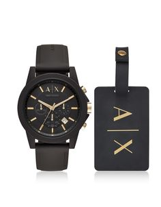 ARMANI COLLEZIONI ARMANI EXCHANGE OUTERBANKS BLACK SILICONE MEN S WATCH  WITH LUGGAGE TAG.  armanicollezioni Armani 3aa6cd1451