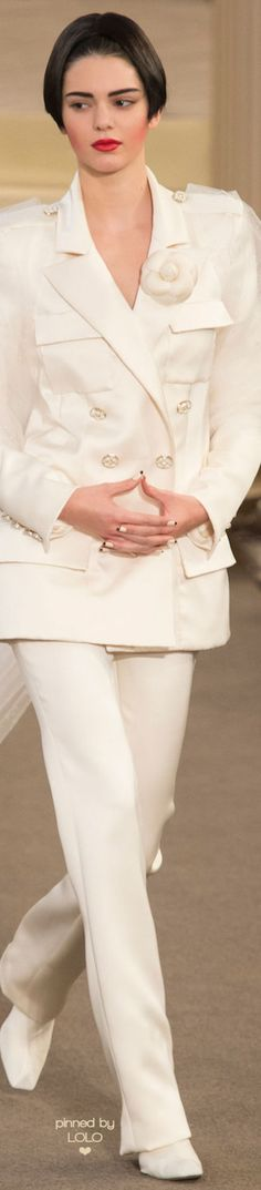 Chanel ~Couture White Double Breasted Trouser Suit Fall 2015