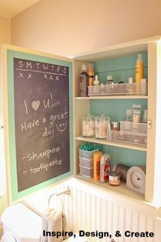 Painting the inside of a medicine cabinet is an easy and wonderful way to bring organization into the bathroom. You can write notes, shopping lists and cleaning to-dos! This one also utilizes a checklist for daily medicine usage (so you never forget to take something again).