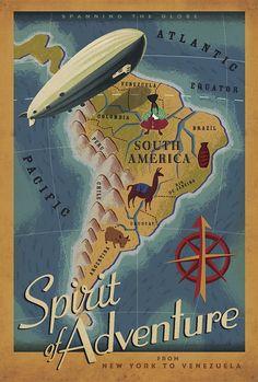 Sudamérica, cartel vintage de la peli Up, por Paul Conrad
