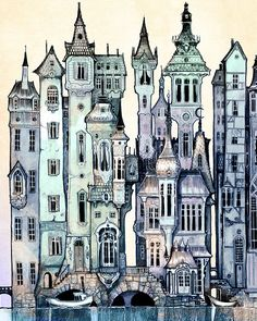 Dawn  Victorian City Art PRINT  giclée Fantasy Wall by theFiligree, $8.00
