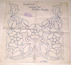 Vintage Deighton embroidery transfer - Flower & Leaf Polka Dot decorative panel uk.picclick.com