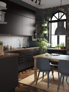 IKEA - ODGER, Chair, blue, Comfortable to sit on thanks to the bowl-shaped seat and rounded shape of the backrest. Kitchen Interior, Home Interior Design, Black Kitchens, Black Ikea Kitchen, Home Trends, Küchen Design, Design Trends, Kitchen Remodel, Sweet Home