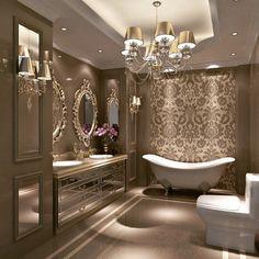 "Hardeep & Baldeep Sekhon on Instagram: ""Elegant & glamorous bathroom design 💫 ⠀ 💎Thinking of Selling or Buying? Call Us 👇👇👇 ⠀⠀⠀ ⠀⠀ 📱 Baldeep 416-738-6407⠀⠀ 📱 Hardeep…"" Apartment Bathroom Design, Bathroom Design Luxury, Luxury Interior Design, Apartment Ideas, Bathroom Interior, Dream Bathrooms, Beautiful Bathrooms, Fancy Bathrooms, Luxurious Bathrooms"