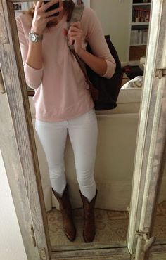 White jeans with cowboy boots