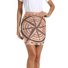 Womens Pencil Skirt Old Steampunk Compass Stretch Bodycon Mini Dress Knee Length for Business