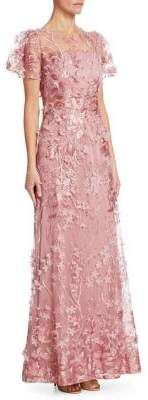 David Meister Embroidered Flutter Sleeve Gown