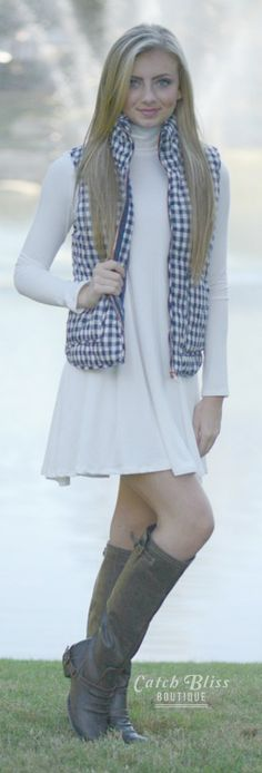 Gingham Vest in Navy. Great fall vest with casual style. Come shop with us! Free shipping on orders $50 and over! #Gingham