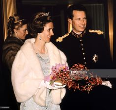 Queen Fabiola of Belgium and Belgian King Baudouin celebrate in 1976, the 25th anniversary of King Baudouin 's accession to the throne at the Royal Castle of Laeken, in Brussels.